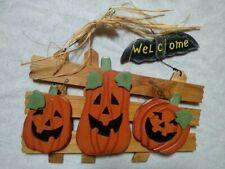 Halloween Welcome Sign / Plaque Indoor Outdoor Wood Metal Bat & Jack-o-Lanterns
