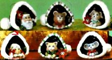 CERAMIC BISQUE (6) CHRISTMAS SANTA HATS WITH ANIMAL ORNAMENTS- READY TO PAINT