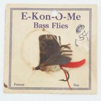 Vintage E-Kon-O-Me Bass Flies Fly Fishing On Card
