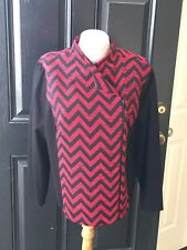 New Chico's Renaissance Red & Black Chevron Jacquard Moto Jacket 3 XL 16 18 NWT