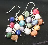 Pretty Baroque Multi-color Pearl Dangly Chain Silver Plated Drop Earrings Gifts