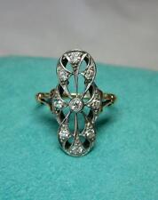Diamond Wedding Engagement Ring Victorian Edwardian Belle Epoque 14K Gold