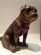Sitting Bronze Pug Ornament Dog Gift Figure Figurine