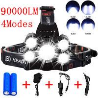 Super-bright 90000LM 5 X T6 LED Headlamp Headlight Flashlight Head Torch Light