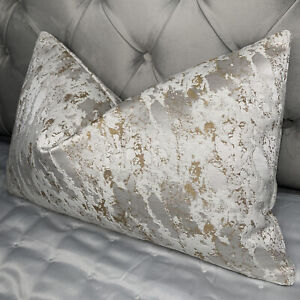 Textured Cushion Cover Mellow Designer Fabric Marble Effect White Cooper Gold