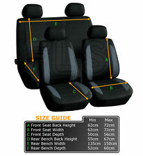 UNIVERSAL 8 PIECE CAR SEAT AND HEADREST COVER SET BLACK/GREY-A019G CHE 1