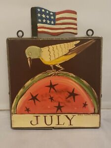 Nancy Thomas Wall Plaque July Bird US Flag 8x8  (1988)
