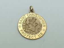 14K Yellow Gold Saint Christopher Protect us Round Charm Pendant 2 grams Jewelry