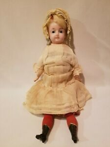 """Antique 21"""" Wax Head Doll Straw Filled Body Please Read & See All Pictures"""