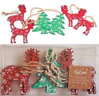 6 x Christmas Wooden Printed Ornament Reindeer Xmas Tree Hanging Decorations New