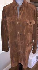 Ralph Lauren 54050 WomenÂ's Brown Leather/Suede Button Top Shirt L Green Label