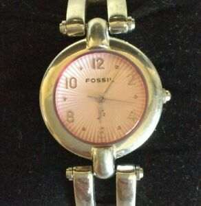Fossil F2 Womens Watch Pink Face Silver Tone ES-8994 New Battery