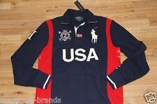 Ralph Lauren USA Flag Cotton Navy Rugby Big Pony Shirt  XL Custom Fit