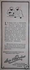 PUBLICITÉ 1913 LEA & PERRINS SAUCE WORCESTERSHIRE