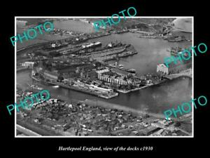 OLD 8x6 HISTORIC PHOTO OF HARTLEPOOL ENGLAND AERIAL VIEW OF THE DOCKS c1930