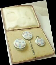 Set Guilloche Enamel Pillbox Mirror Perfume Sterling Silver Vintage Dated 1923