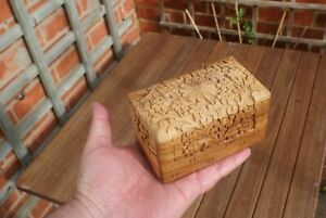 Vintage Detailed Carved Wooden Playing Card Box Poker, Bridge, Cribbage,