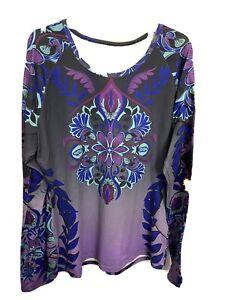 Athleta M Tattoo Knit Top Long Sleeve Purple & Gray Baselayer