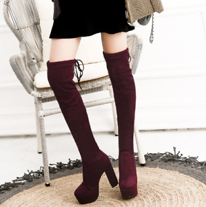 Womens Over The Knee Boots Stretch Platform Block Heels Warm Casual Shoes 34-43