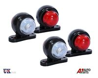 4 Red White Corner Side Marker LED Lights Outline Lamp Truck Trailer Van Bus 12V