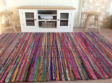 ❤️SHABBY CHIC SQUARE RAG RUG MULTI COLOUR FRINGED EDGES 180cm x 180cm FAIR TRADE