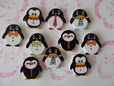 6 X CUTE PENGUIN SHAPED WOODEN FRIDGE MAGNET ASSORTED MIXED RANDOM COLOURS
