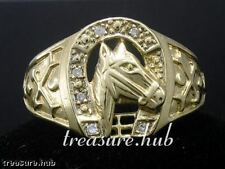 sMR13- GENUINE 9K 9ct Solid Gold Heavy Mens DIAMOND Horse-Shoe Ring size T