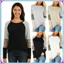 Long Sleeve Leopard Striped Tops & Shirts for Women