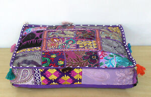 "18x5"" Indian Square Purple Patchwork Cotton Home Decorative Floor Cushion Cover"