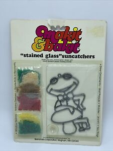 Vintage Makit Bakit Frog Suncatcher Stained Glass Ornament Frame