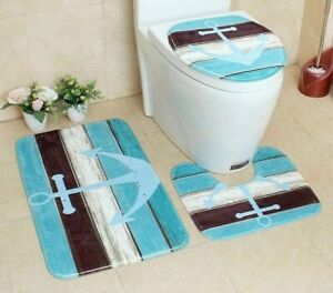 Flannel Non-Slip Bathroom Carpet Toilet Bath Lid Cover Absorbent Shower Mat Pads