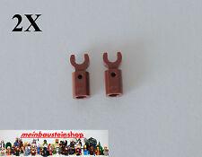 2X Lego® 11090 Stange Halter mit Clip Rotbraun, Bar Holder Reddish Brown NEU
