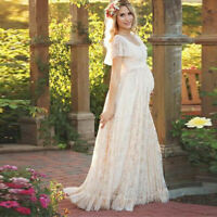 US Pregnant Women Lace Floral Long Maxi Dress Maternity Gown Photography Props