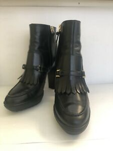 Tods Black Leather Ankle Boots Stacked Heel Women's Size 38 8 EUC