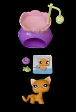Littlest Pet Shop 525 Orange Kitty Cat  Green Eyes + Accessories Authentic Lot 1