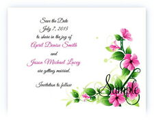 100 Personalized Custom Pink Floral Flowers Bridal Wedding Save The Date Cards