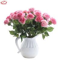 10 Head Artificial Fake Rose Silk Flower Bridal Bouquet Wedding Party Home Decor