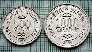 TURKMENISTAN 1999 500 & 1000 MANAT 2 COINS SET, PRESIDENT NIYAZOV, UNC