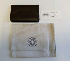 GHURKA Slim Brown Smooth Calf Leather 4 Slot Card Case Holder Wallet Walnut NWT