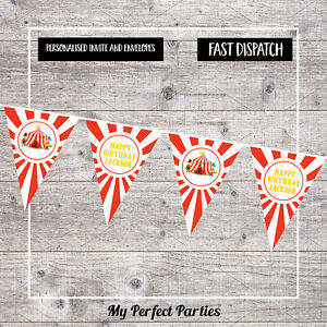 Personalised Circus Red and White Birthday Party Bunting, Banner, Decorations