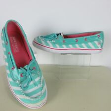 Sperry Top Sider Big Girl 5 Womens 7 Biscayne Stripe Boat Moc Toe Shoes Glitter