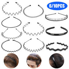 6/10x Metal Sports Hairband Headband Wave Style Set For Unisex Men Women Makeup