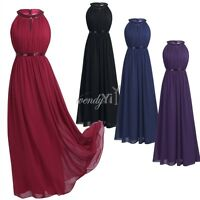 Halter Women Long Chiffon Evening Formal Party Bridesmaid Ball Gown Prom Dress