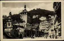 Karlsbad Karlovy Vary Postkarte ~1950/60 Tržní kolonáda Straßenpartie Markt Turm