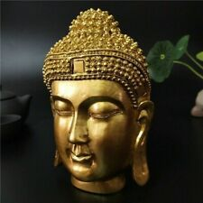 VINTAGE GOLD BUDDHA HEAD STATUE WALL HANGING RESIN SCULPTURE FIGURINE HOME DECOR