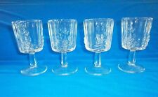 Set of 4 LG Wright Paneled Grape Clear Water Goblets Glasses Stemware