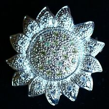 ROMAN signed Sunflower silver tone textured with yellow clear rhinesto BROOCH