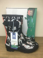 Brand New Joules Molly Mid Height Printed Wellies Size 5 Navy Dalmatian Women's