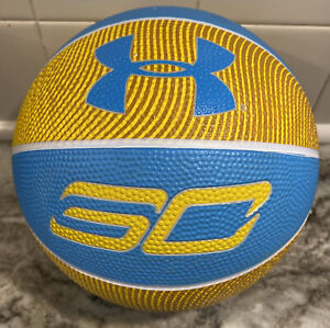 Under Armour Steph Curry Player Basketball Ball, Blue/Yellow, Mini Size 3