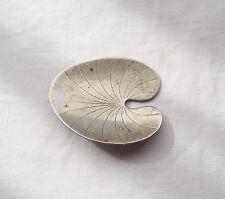 Silver Brooch HS Hermann Siersbol Denmark Water Lilies / Lotus Leaf Modernist